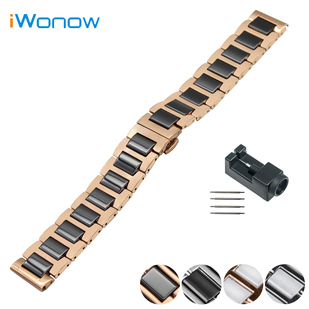 Ceramic Watch Band 18mm 20mm 22mm for Citizen Butterfly Buckle Strap Wrist Belt Bracelet Black White Silver + Spring Bar + Tool genuine leather watch band 18mm 20mm 22mm for breitling stainless butterfly buckle strap wrist belt bracelet spring bar tool
