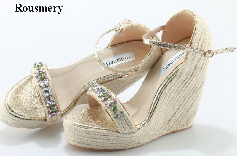 цена на Rousmery New Fashion Women Open Toe Rhinestone High Platform Wedge Sandals Grass Bottom Crystal Wedge Sandals