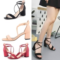 Fashion Party Sexy Matte High Heels Open Bare Foot Belt Buckle Heel Sandals Shoes Wedding Party Women 6050 1MA