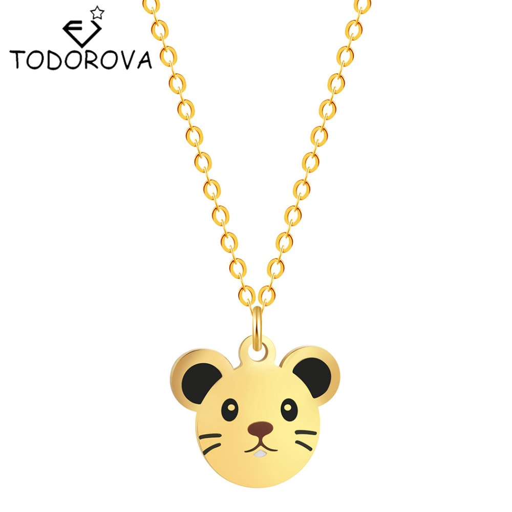 Todorova Fashion Cute Mickey Head Baby Mouse Jewelry for Women Necklaces Pendant Girls Kids Gift Birthday