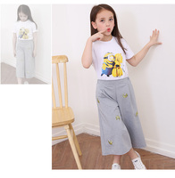2018 New Girls summer suit 2pcs summer mid sleeve shirt+pants set fashion girls cloth set 6 15 years old number printing