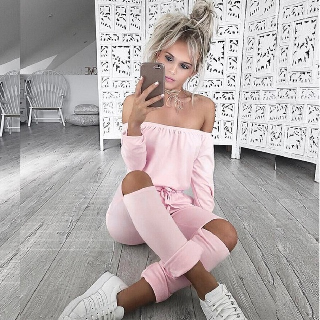 New 2017 Jumpsuits Autumn Long Style Drawstring Tie Waist Women Hole Jumpsuit Off the Shoulder Long Sleeve Solid Slim Rompers