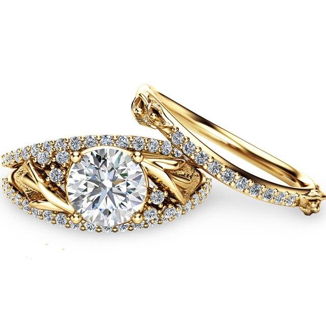 Flower Bridal Set Art Deco Styled European Moissanites 14k 585 Yellow Gold  Lab Grown Diamond Rings For Women Wedding Sets Ring