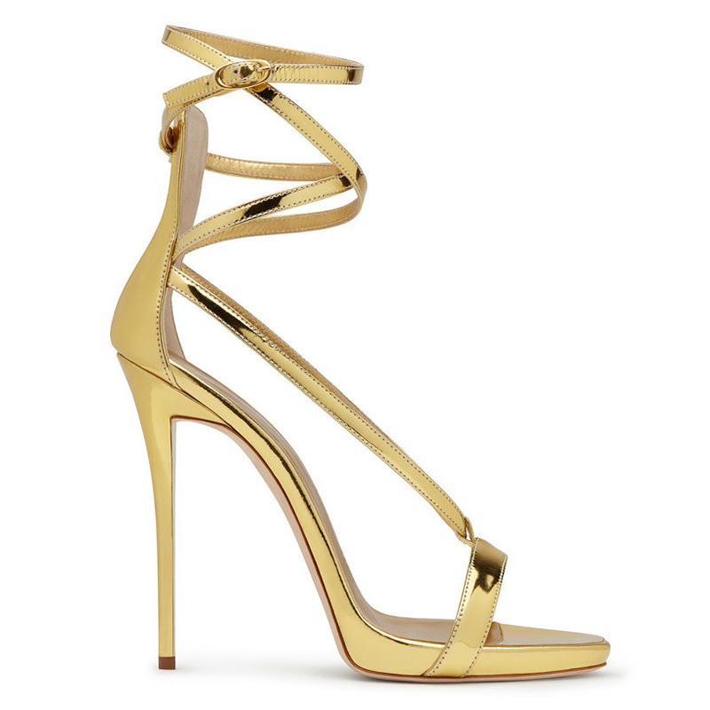 ФОТО 2017 Gold And Silver Women Summer Style Ladies Party Shoes HIgh Heels Buckle Strap Zapatos Mujer Tenis Feminino Cheap Sandals
