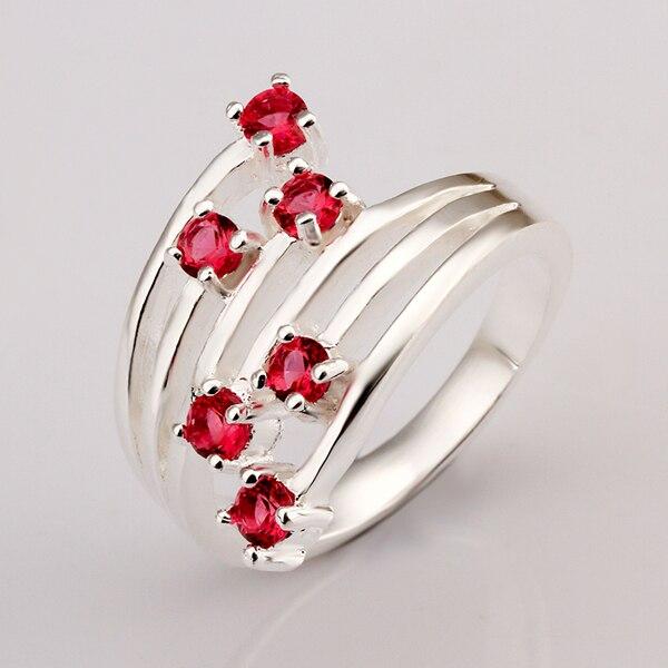 R368 Одежда высшего качества с серебряным покрытием и штампованные 925 строку с шестью темно-красный камень Prism кольцо для женщин Свадебное fine ... ...