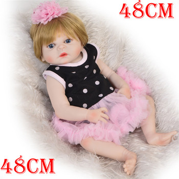 "19"" 48cm Full Body Silicone Reborn Baby Girl Dolls Bath Toy Bebes Reborn Babies Dolls for Children Juguetes Bonecas"