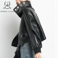 Autumn winter sheepskin genuine leather jacket women black Puff Sleeve Metal hole design female short real leather Jackets