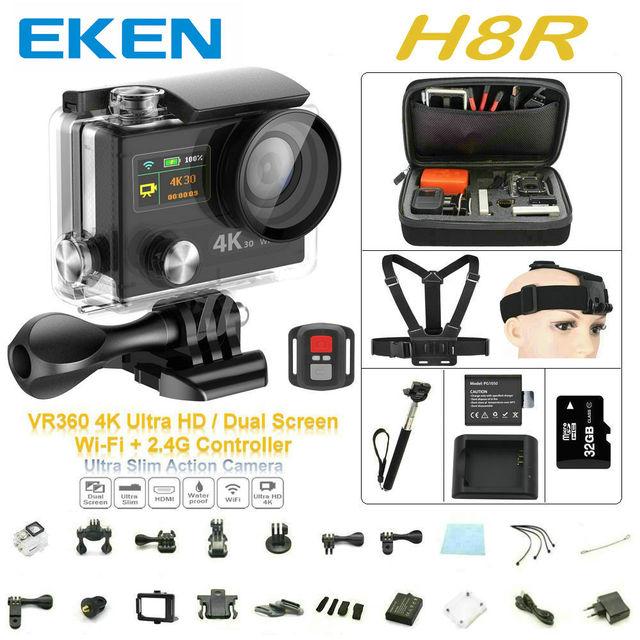 """Câmera de Esportes H8R VR360 Controle Remoto ultra 4 K/30fps Wi-fi 2.0 """"Dual LCD Helmet Cam câmera à prova d' água esporte DV"""