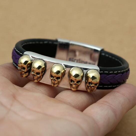 NEW 925 Silver Leather Bracelet Brass Skeleton Inlaid Man Bracelet Real Fine Leather PUNK Bangle Skull Bracelet все цены