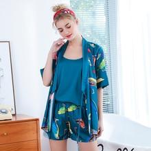 Wasteheart Pink Green Cartoon Womens Sleep Pajama Sets Sleepwear Vest Shorts Sexy Nightwear Suits Faux Silk 3 Pieces Nightgown