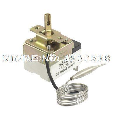 AC 250V 16A 50-300C Temperature Thermostat Switch Sensor w 27.6 Capillary uxcell temperature range ac 250v 16a 3 terminals no nc temperature control capillary thermostat 50 300c 50 300c