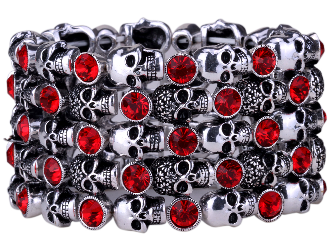 YACQ Skull Skeleton Stretch Cuff Bracelet for Women Biker Bling Crystal Jewelry Antique Silver Color Wholesale Dropshipping D07 5