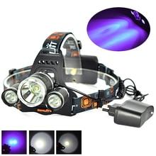 Boruit 5000LM 3 LED XML T6 +R5 UV Purple LED Headlamp Headlight 3 Mode Head Lamp linterna frontal for Bicycle Hunting