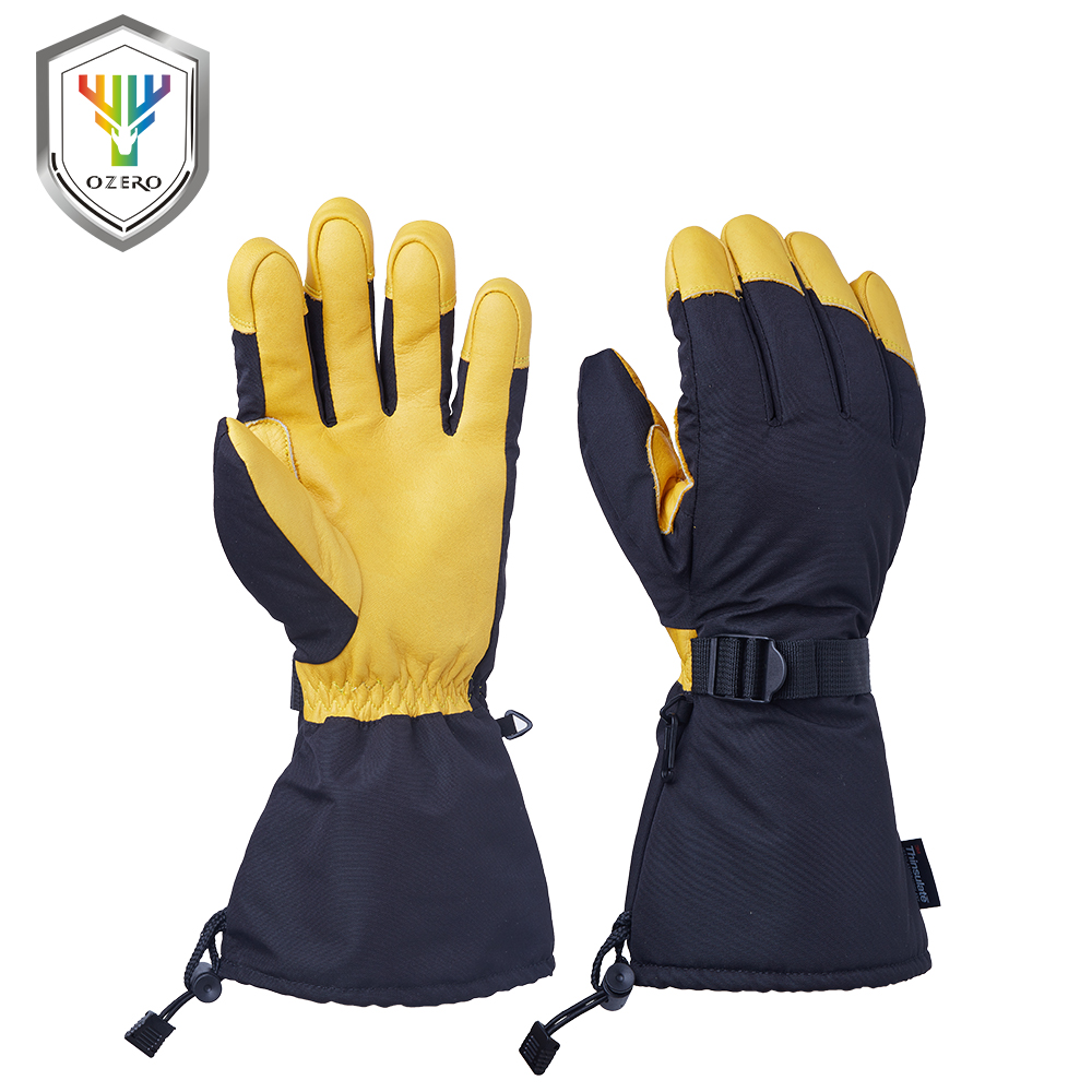 Leather work gloves china - Ozero Winter Warm Gloves Men S Work Driver Windproof Waterproof Security Protection Wear Safety Working For Men S