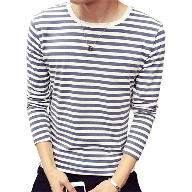 New Fashion Sailor Striped T Shirt Men 2016 Autumn Designer Long Sleeved Casual Man T-Shirts O Neck Cotton Tshirt Homme 4XL 5XL