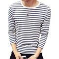 Nova Moda Marinheiro Listrado T Shirt Homens 2016 Designer de Outono Longo mangas compridas Homem Camisetas O Pescoço De Algodão Tshirt Ocasional Homme 4XL 5XL