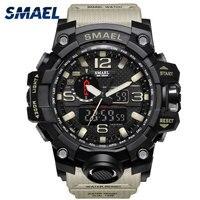 Męski zegarek wojskowy 50m zegarek wodoodporny LED zegarek kwarcowy sportowy zegarek męski relogios masculino 1545 sportowy zegarek męski S Shock