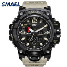 Men Military Watch 50m Waterproof Wristwatch LED Quartz Clock Sport Watch Male relogios masculino 1545 Sport