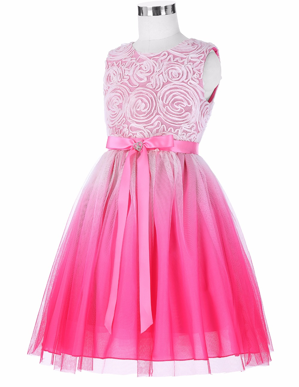 Grace Karin 2017 Flower Girl Dresses Luxury Tulle Flower Party Dresses For Wedding Party First Communion Dresses With Bow Ribbon 6