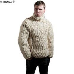 Hiver 2020 Super épais hommes col roulé pull ample décontracté à la main épais laine pull manteau épais chaud mâle hiver vêtements