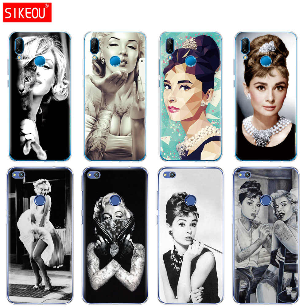 Silicone Cover Phone Case For Huawei P20 P7 P8 P9 P10 Lite Plus Pro 2017 P Smart 2018 Audrey Hepburn Marilyn Monroe