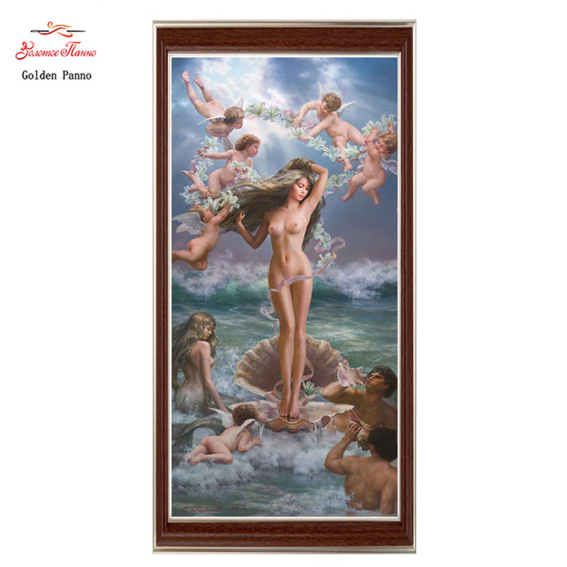 Golden Panno Needlework Embroidery DIY Portrait Painting Cross stitch kits 14ct Birth of Venus Cross stitch