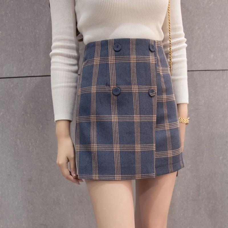Fashion Plaid Skirt Femme High Waist 2018 New Autumn Skirts Womens Vintage Female Casual Elegant Buttons Women Skirt Ladies