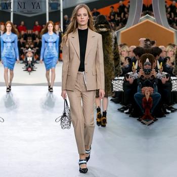 Jacket Pants Dark Khaki Formal Women Suit Pants Elegant Female Office Uniform Lady Trouser Suit 2 Piece Office Uniform Custom