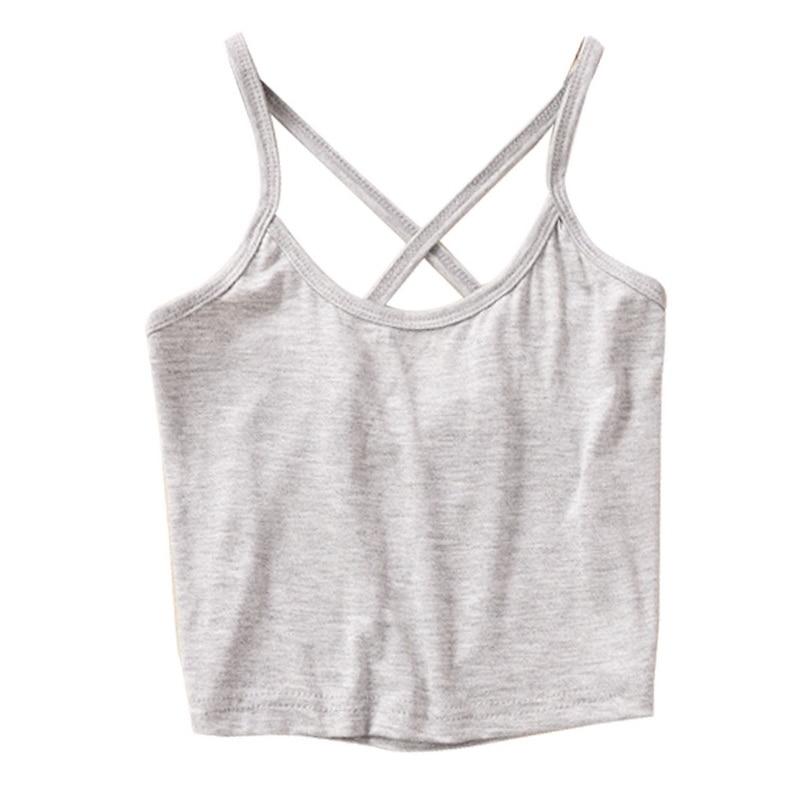 Laamei HOT Women Bare-Midriff Crop Top O-Neck Sleeveless Short Solid Modal boho Top Crop Back Cross Vest Summer Sexy Top Women
