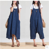 Fashion Women S Thin Section Sleeveless Summer Long Denim Strap Dresses Casual A Line Mid Waist