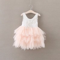 Baby Girl Outfit Summer Girl Lace Dresses Tulle Tutu Kids Dresses For Girls Wedding Pink Ball