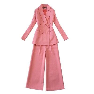 Boutonnage Professionnel Bureau Long Manteau 2018 De Pantalon Paragraphe Femme Double Pièces Deux Loisirs Costume Mode Dames 1 Ensemble q400nBRw