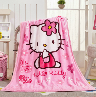 Promotion! Cartoon Mickey Kitty Winter Baby Blanket /Children Girl's Soft Coral Quilt