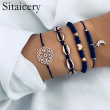 Sitaicery 4 Pcs/set Bohemian Black Beads Chain Bracelets Bangles For Women Fashion Heart Moon Shells Bracelet Set Jewelry Gifts