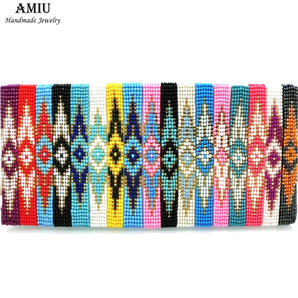 AMIU Handmade Friendship Evil Eye Bracelet Hippy Vintage Seed Beads Rope String Colorful For Women Men Beads For Jewelry Making