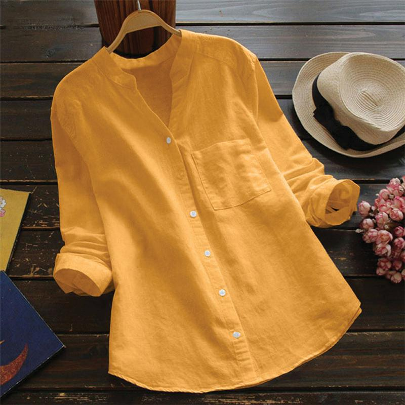 Yiwa Women Cotton Linen Solid Color Long Sleeve Large Size Casual Shirt Breathable Wear Resistant Short Sleeve Women's Clothing