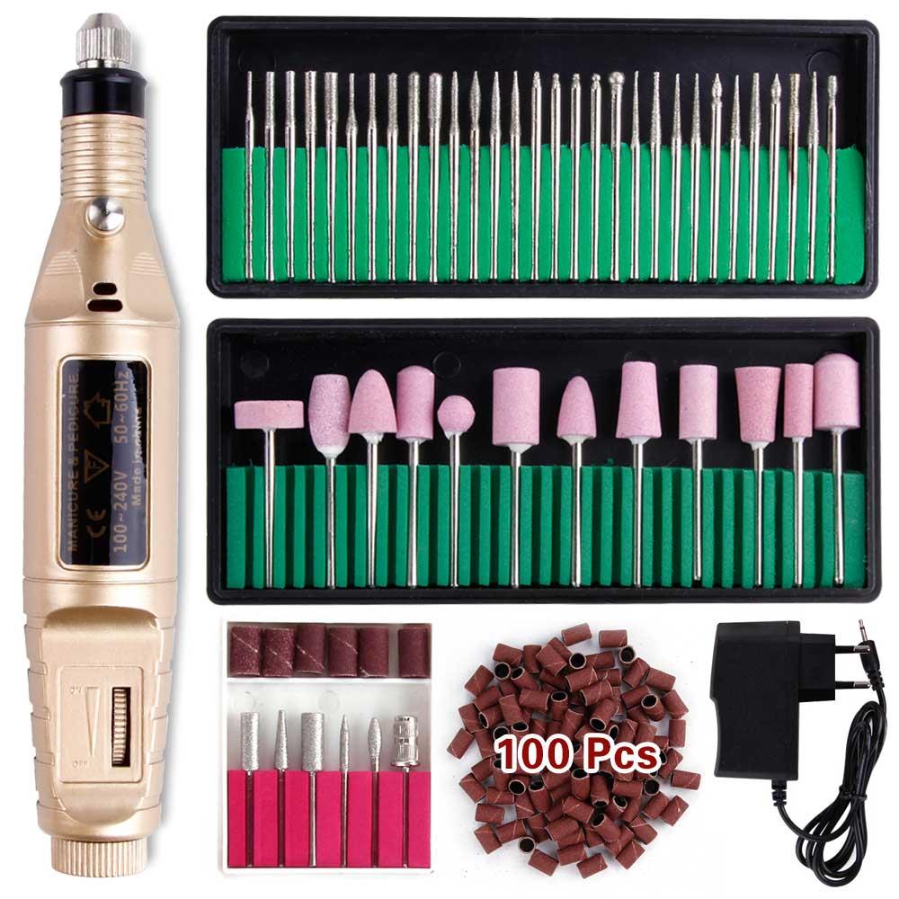 Máquina de manicura profesional juego de brocas eléctricas para uñas, cortador de uñas, lijadora de Gel, eliminador de esmalte, cortador de cerámica