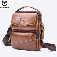 BULLCAPTAIN 2019 Brand Leather Men Bag Casual Business Leather Mens Shoulder Messenger Bag Vintage Men's Crossbody Bag male bag