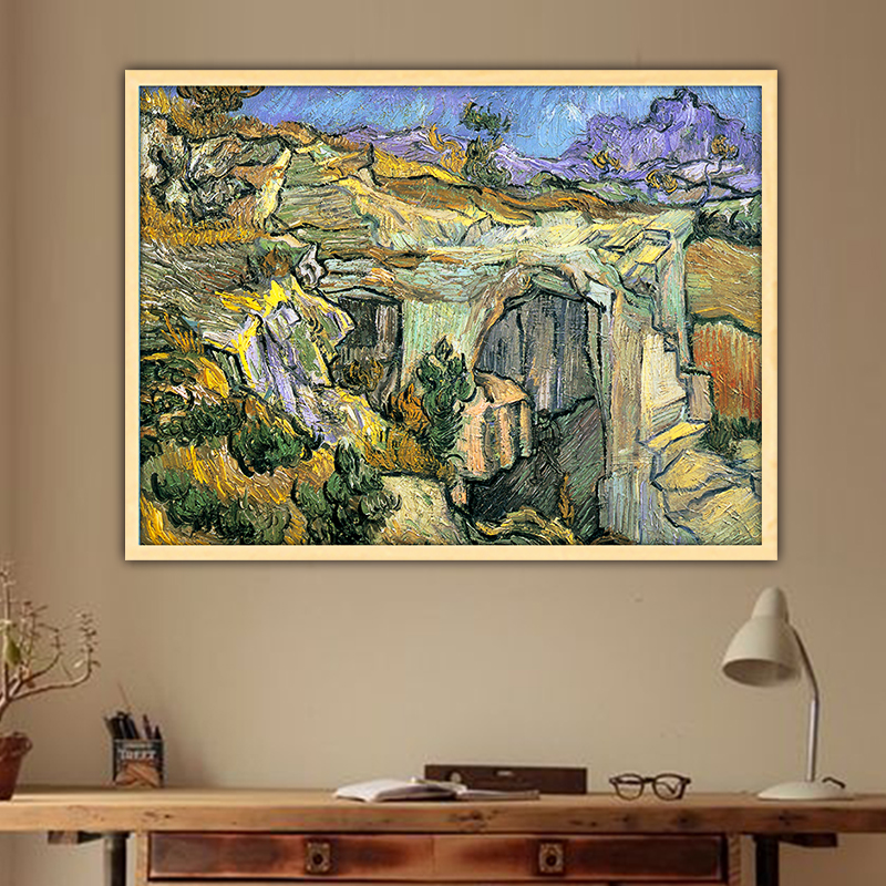Van Gogh entrance to a quarry diy by numbers art paint impressionist paint adult hand drawing living room decoration color pic