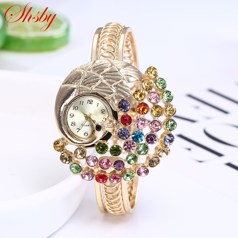 Shsby women Jewelry Watches Casual Bracelet Watch lady peacock Relogio Rhinestone Analog Quartz Watch Clock Female Montre Femme