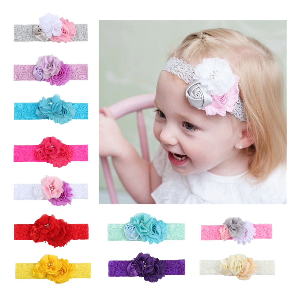 1pc Colorful Baby Infant Flower Headband Elastic Hair Band Baby Girl Flower Lace Headband Toddler Hair Accessories Girls
