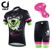 Crossbone CHEJI Women's Cycling Clothing Mountain Bike Jerseys Short Set Bicycle Jersey and GEL Padded Shorts Suit For Lady