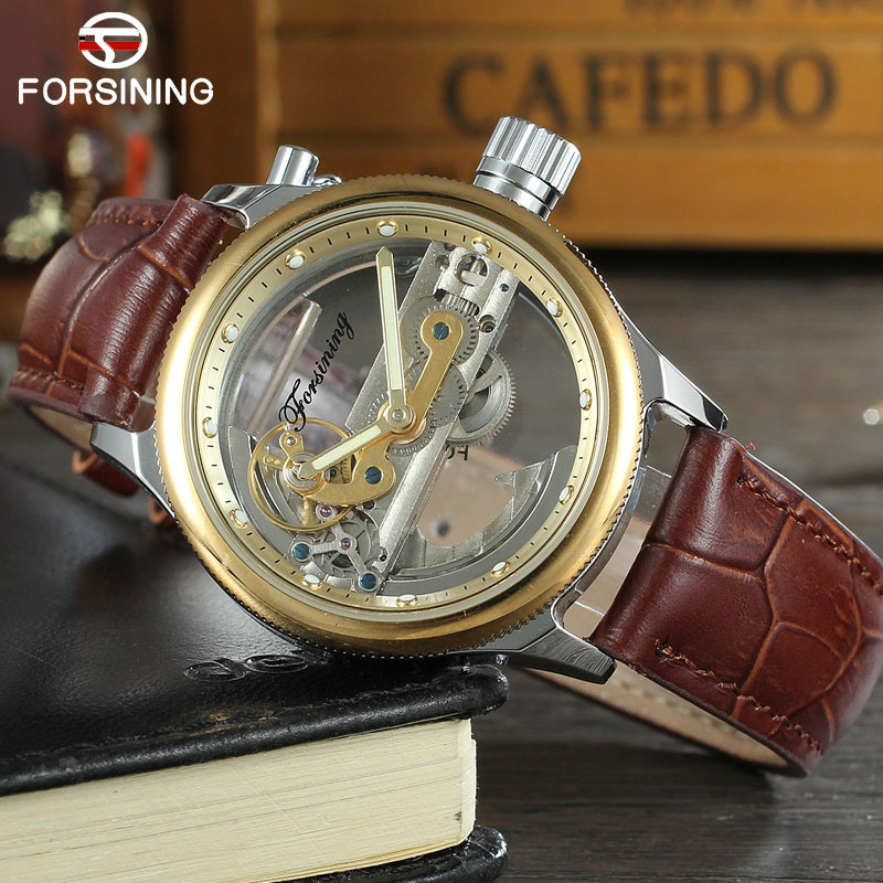 FORSINING Classic Men Watches Luxury Top Brand Leather Automatic Mechanical Watch Black Color Relogio Masculino