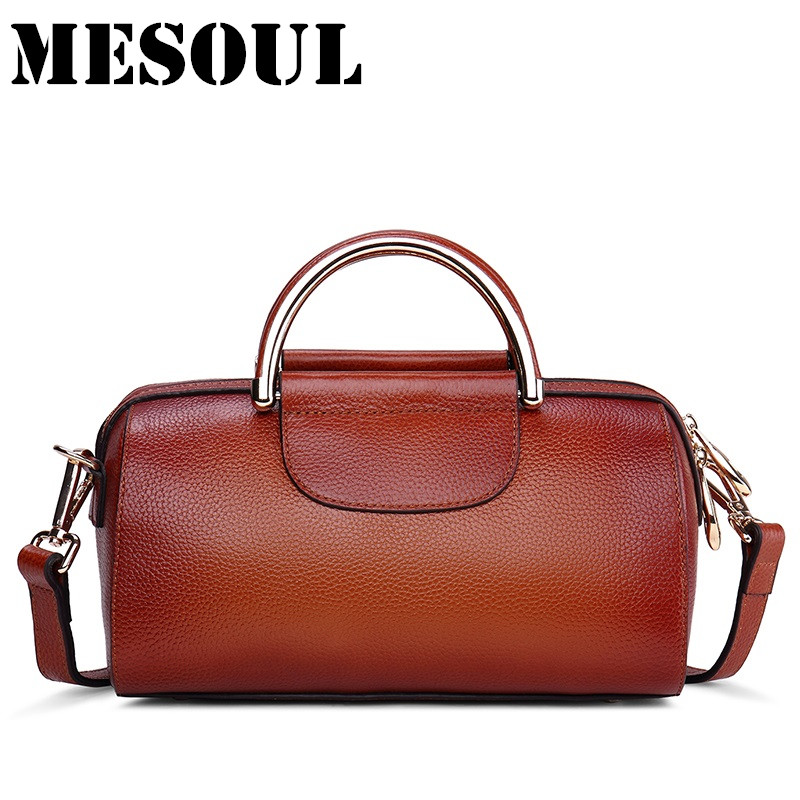 MESOUL Genuine Leather Handbag Women Boston Bag Famous Brand Shoulder Bags Ladies Crossbody Bag High Quality Designer Tote Bag high quality authentic famous polo golf double clothing bag men travel golf shoes bag custom handbag large capacity45 26 34 cm