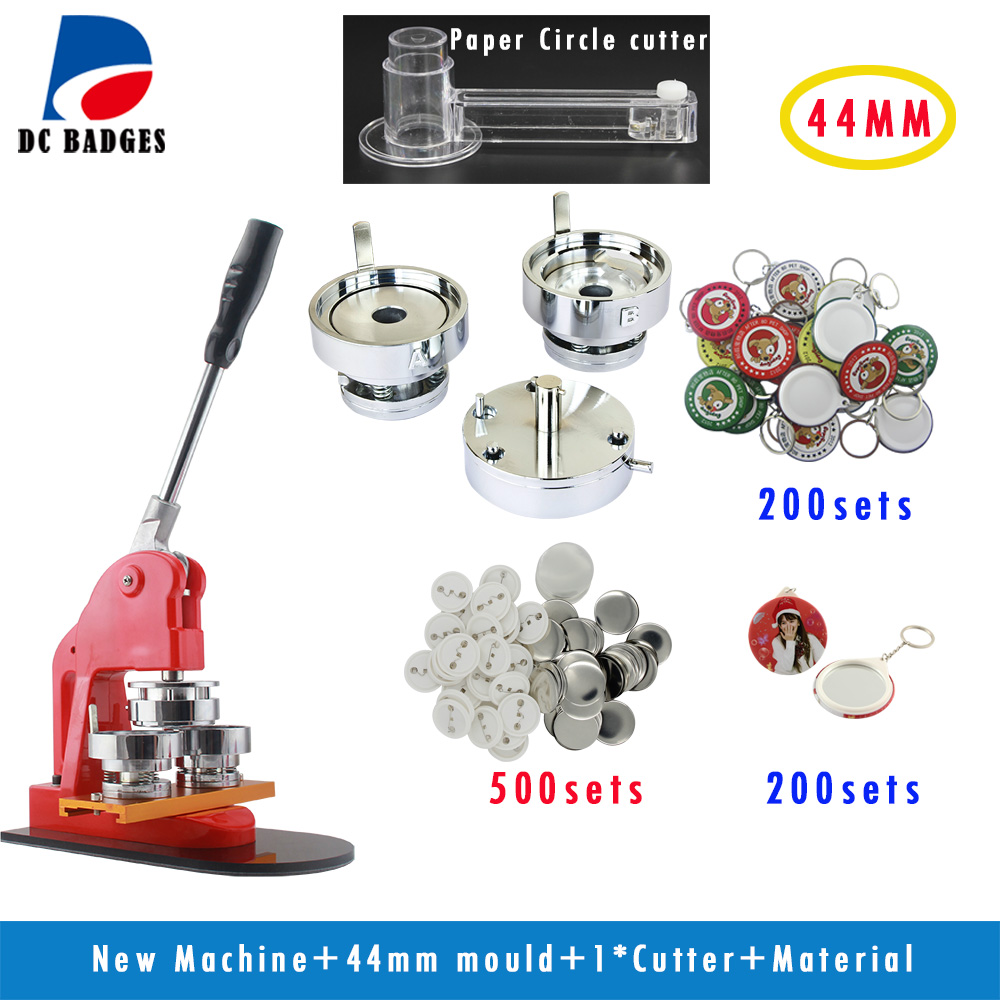 Metal Button Machine 1-3/4 44mm  set +Plastic Cutter+500Sets Pinback +200sets mirror keychain+200sets keychain free shipping new pro 1 1 4 32mm badge button maker machine adjustable circle cutter 500 sets pinback button supplies
