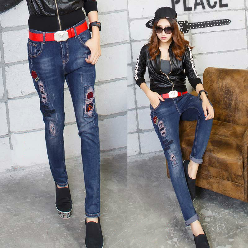 ripped jeans for women the new baggy embroidery denim harem pants trousers vaqueros mujer jean femme