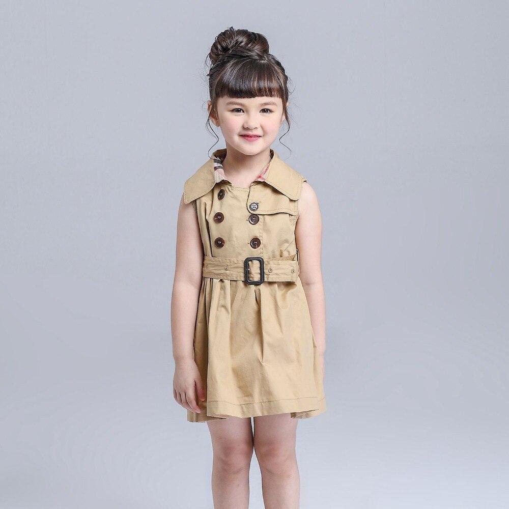 (kimocat) 2016 summer cotton dress with belt fashion sleeveless girls dress