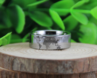 Free Shipping USA UK Canada Russia Brazil Hot Sales 8MM Silver Pipe World Map Design New
