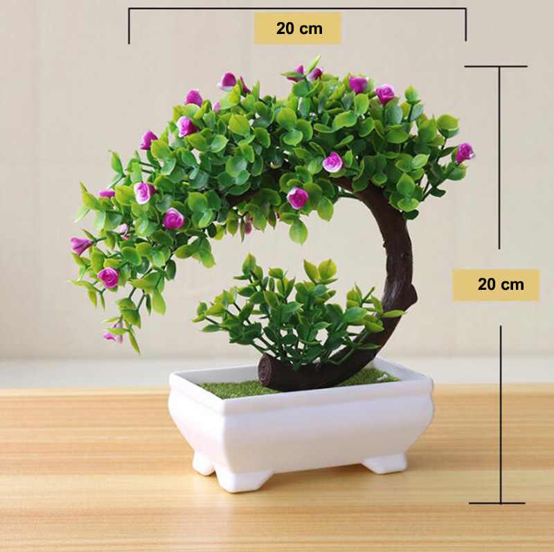 النباتات الاصطناعية الملونة بونساي أصائص زرع ورد صناعي للمنزل والحديقة الديكور #08