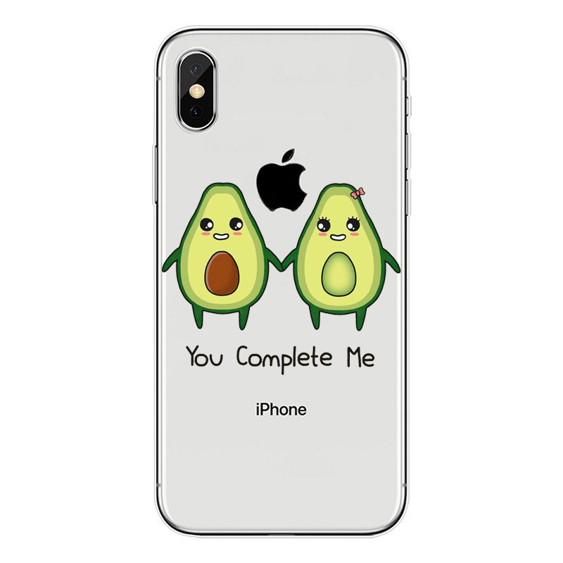 Cartoon lovely avocado soft TPU Phone Case For iPhone 5 5S SE 6 6S Plus 7 7 Plus 8 8 Plus X XS transparent Silicone Cover in Fitted Cases from Cellphones Telecommunications